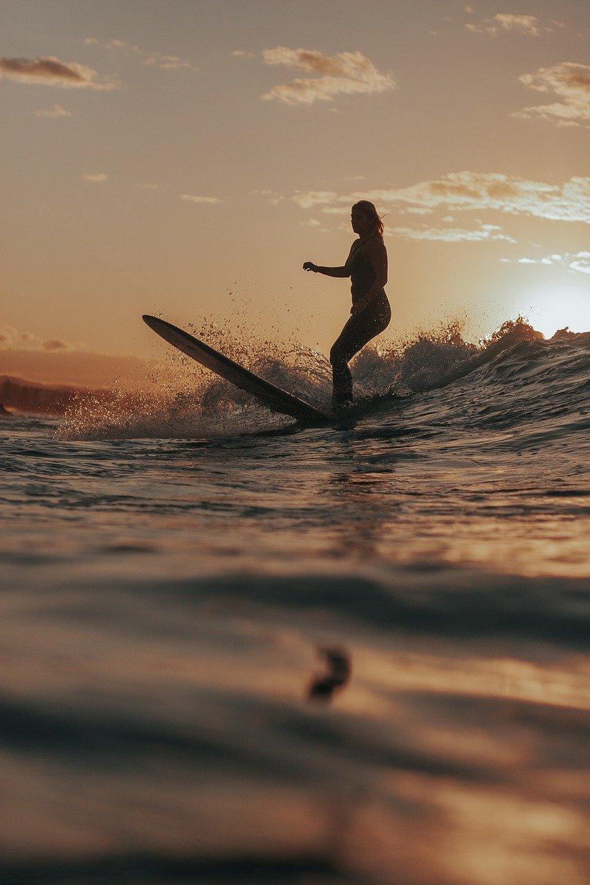 girl, surf, waves